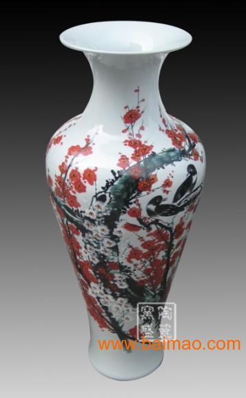 景德镇厂家直销青花陶瓷大花瓶,中国红陶瓷大花瓶生产厂家