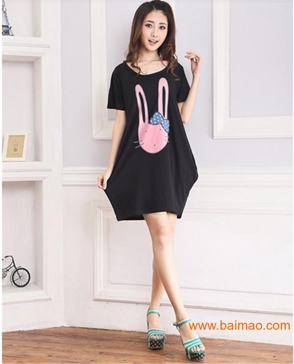 长耳兔兔孕妇T恤裙,聊城孕妇装