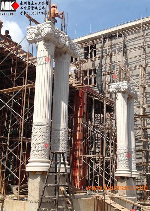 别墅外墙罗马柱雕刻 别墅石材幕墙效果图设计,别墅外墙罗马柱雕刻 高清图片