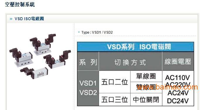 台湾长拓vsd 系列联座式电磁阀图片