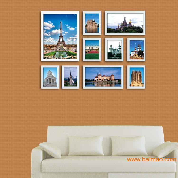 义乌礼品公司_10框实木相框墙创意照片墙组合相片墙712,10框实木相框墙创意 ...