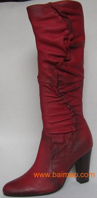 新品女靴子2011外贸原单长筒靴真皮女鞋中粗跟女靴