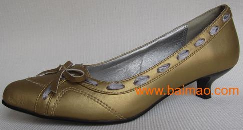 复古外贸原单 尖头 低跟蝴蝶结搭口 简约单鞋女鞋