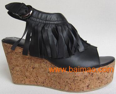 女鞋 外贸原单 2011新款欧美粗跟流苏真皮高跟鞋