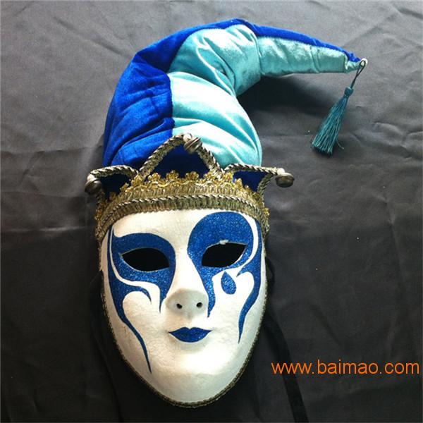 万圣节派对面具化妆舞会道具威尼斯手绘纸浆面具全脸,万圣节派对面图片