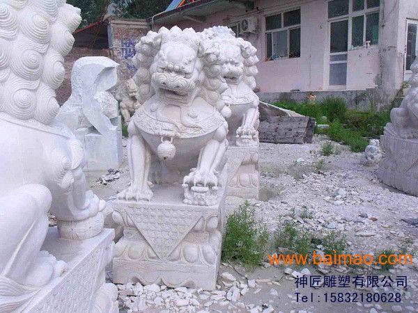 汉白玉石狮子 石雕 石狮子厂家-山西神匠