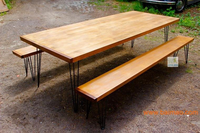 厦门个性松木大板 原木大板桌 大板会议桌 铁艺大板