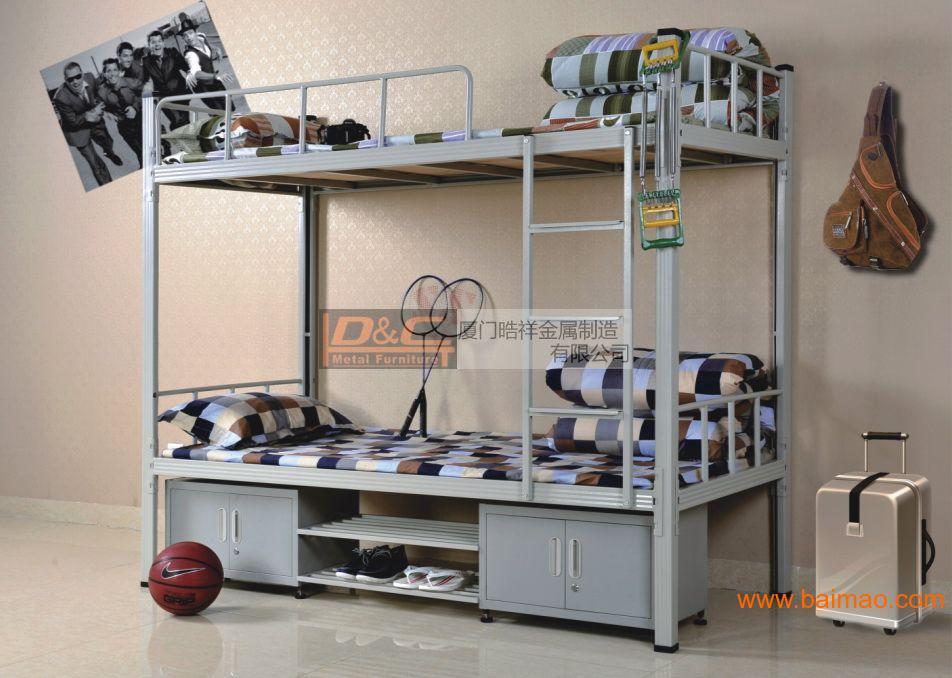 HXA-06  带鞋架双层铁床,上下铁床,公寓铁床