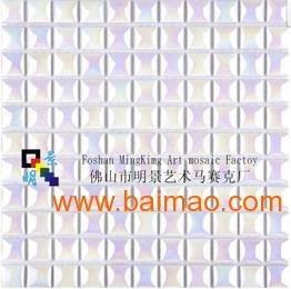 立体长条珍珠白陶瓷电镀马赛克