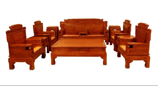 古典花梨木财源滚滚十一件套红木沙发图片