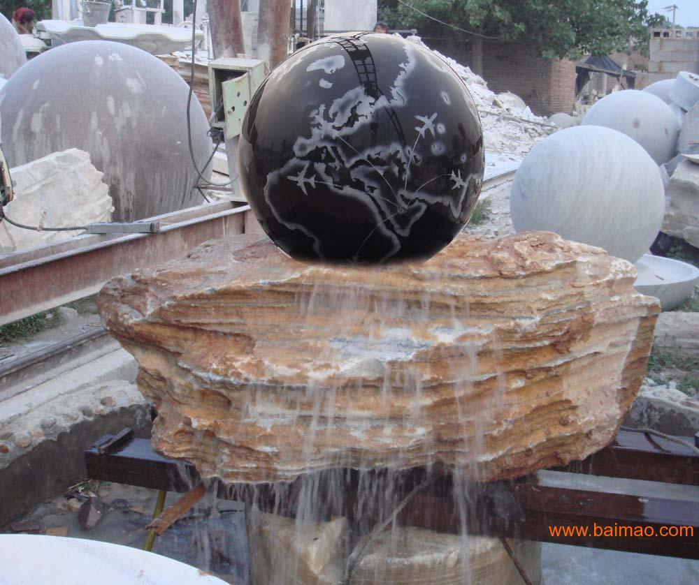 石雕喷泉,石雕风水球,石雕鸿福轮,大水发园林水景图片