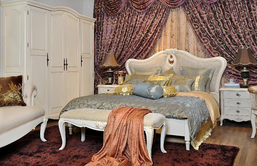 供应卓越年华 卧室家具 家具 床 妆台+镜+凳 四门衣柜 法式乡村
