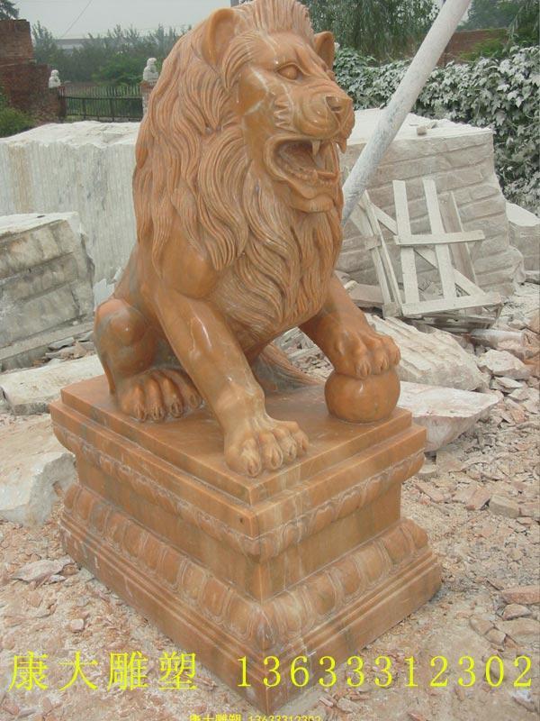 石雕狮子门口摆件晚霞红欧洲狮子