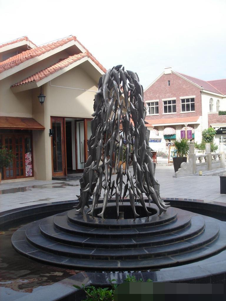 河北雕塑厂家供应不锈钢鱼群雕塑小区雕塑