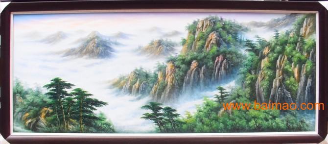 中国山水风景油画_中国风景油画纯手绘风水画山水画中式聚宝盆,中国风景油画