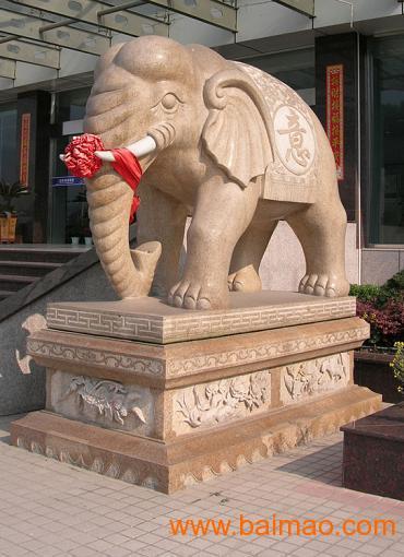 石雕大象/晚霞红石雕大象