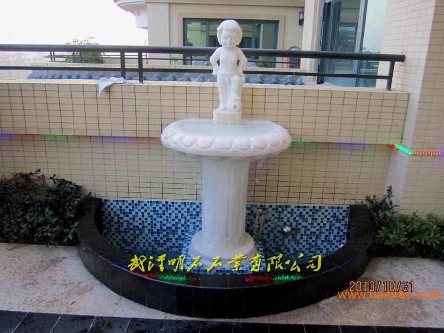 汉白玉石雕喷泉 阳台石雕喷泉 大理石石雕喷泉