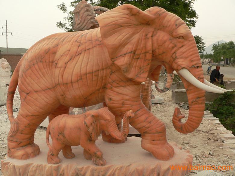 晚霞红石雕大象/武汉石雕大象/玉雕大象