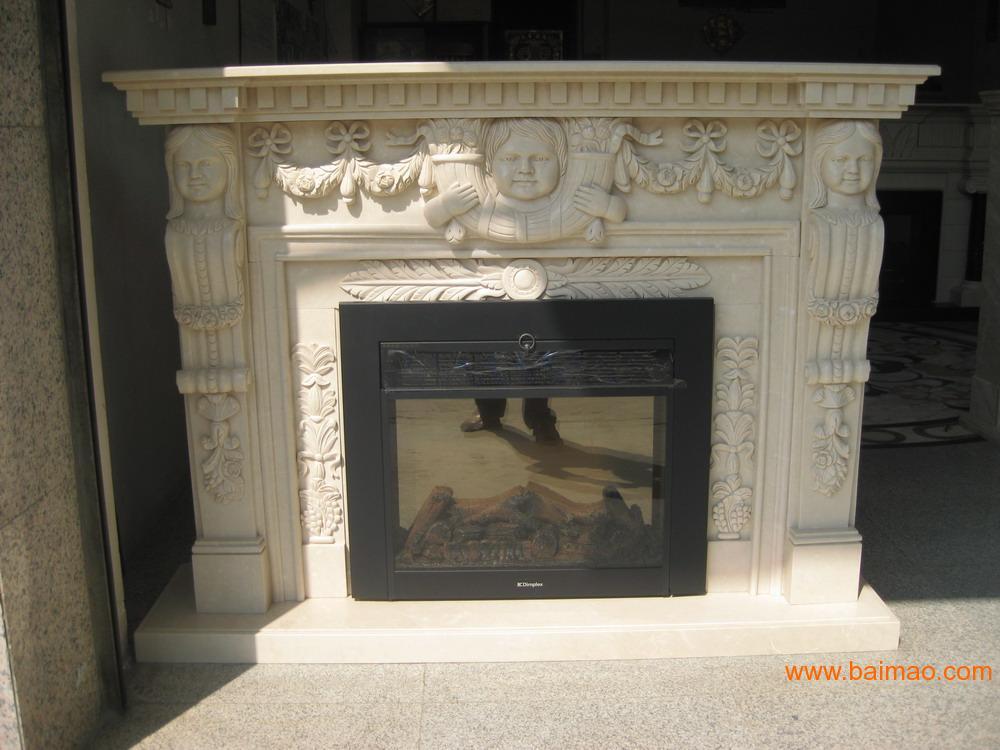 汉白玉雕刻壁炉架WHITE MARBLE