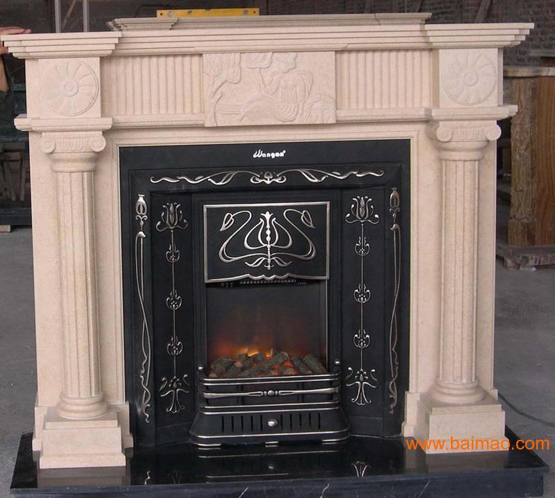 米黄大理石雕刻壁炉架CARVING MANTEL