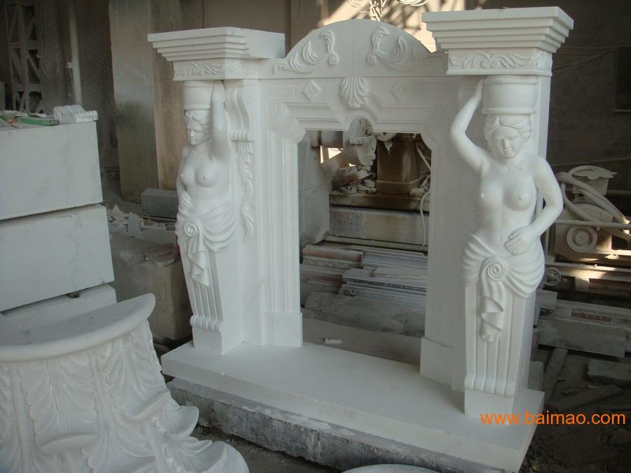 汉白玉大理石雕刻壁炉架MARBLE MANTEL