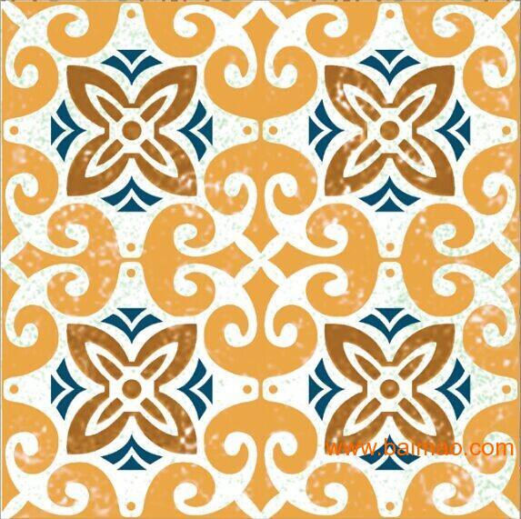 美式田园厨房卫生间客厅防滑耐磨仿古砖拼花瓷砖小花图片