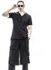 夏季新款男士短袖T恤休閑純色半袖體恤衫時尚v領T恤