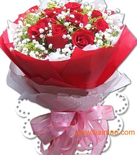 天津鲜花速递上海生日鲜花中礼广州鲜花11枝红玫瑰花束鲜花送全国